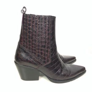 Zara | Embossed Croc Print Leather Western Booties